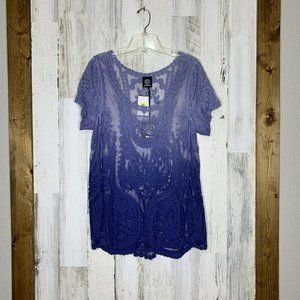 Bobeau lace ombre top size small NWT short sleeve